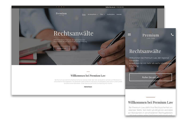 Website Builder, Lawyer Website, different screen sizes