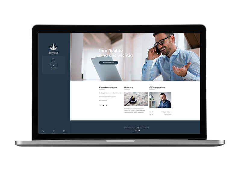 Website Builder, Lawyer Website, laptop view