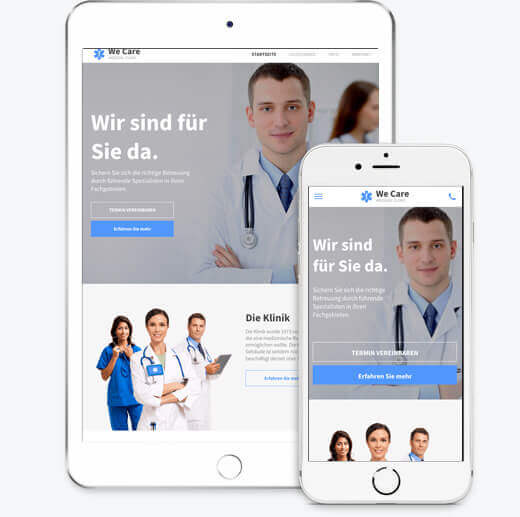 Website Builder, doctor's office website, different screen sizes