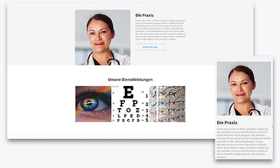 Website Builder, Template for optometry website, different screen sizes