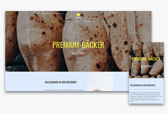 website builder, template for a bakery website, different screen sizes