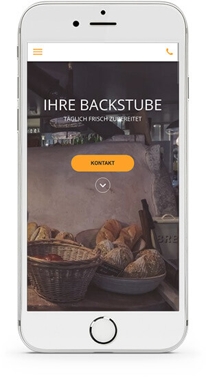 website builder, template for a bakery website on IPhone