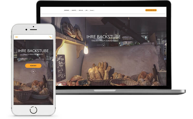 website builder, template for a bakery website, laptop and mobile view