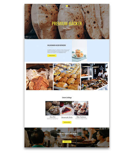 website builder, template for a bakery website