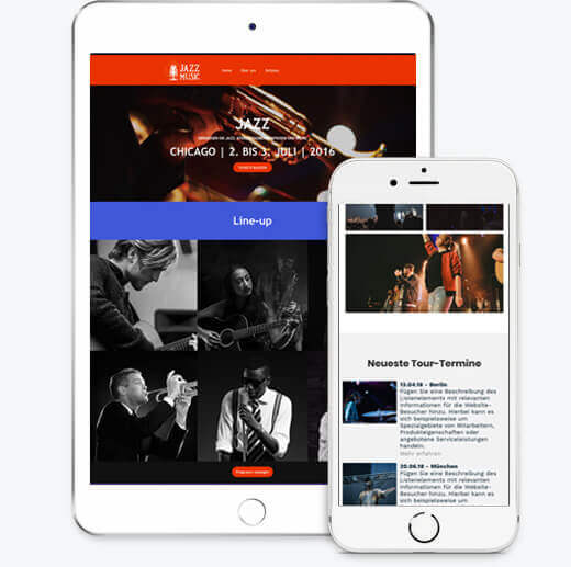 Band Templates, iPad and iPhone views, Website Builder