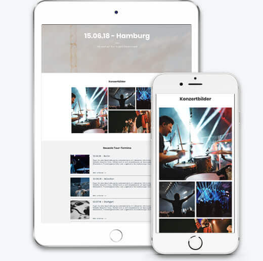 Website Builder, Band Website, different screen sizes