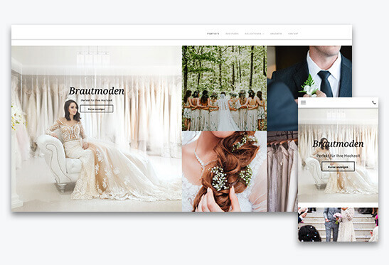 website builder, template for a bridal fashion store website, different screen sizes