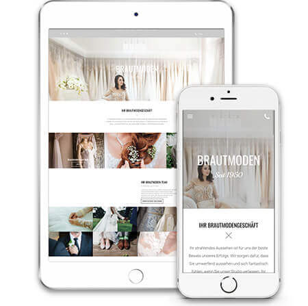 website builder, template for a bridal fashion store website, IPad and IPhone view