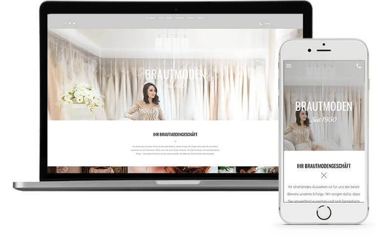 website builder, template for a bridal fashion store website