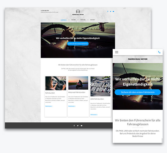website builder, driving school website, different screen sizes