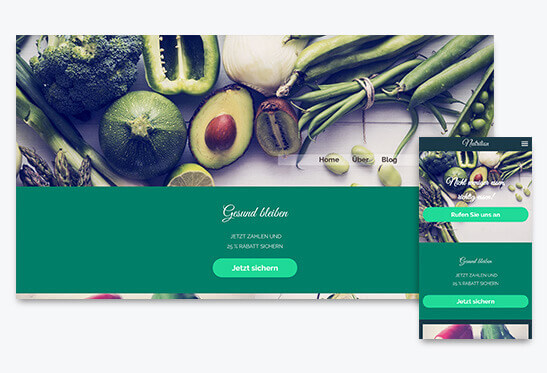 Website Builder, Food Blog different screen sizes