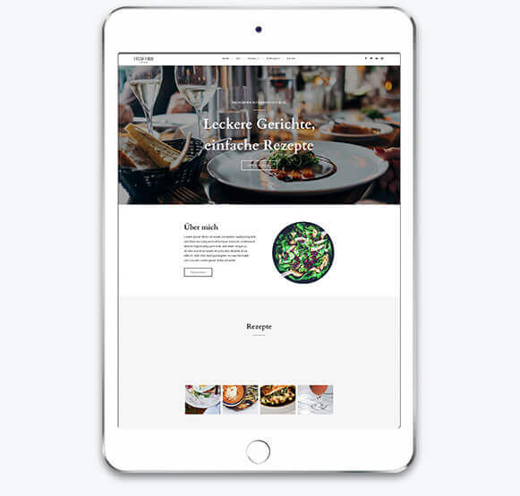 Website Builder, Food Blog Template on a Tablet