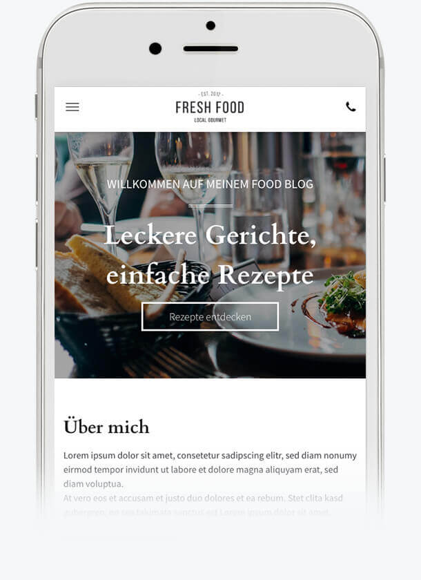 Website Builder, template for a Food Blog on iPhone