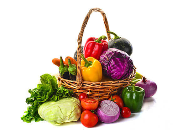 Website Builder, Food Blog, Shopping basket with vegetables