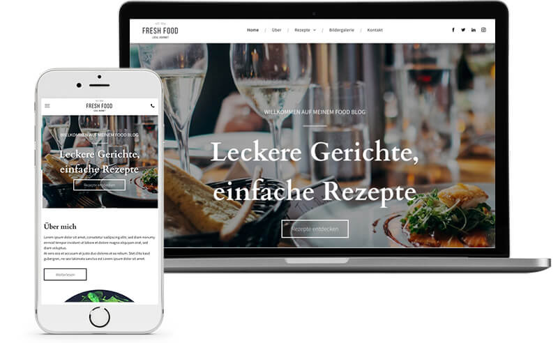 Website Builder, Template for a food blog