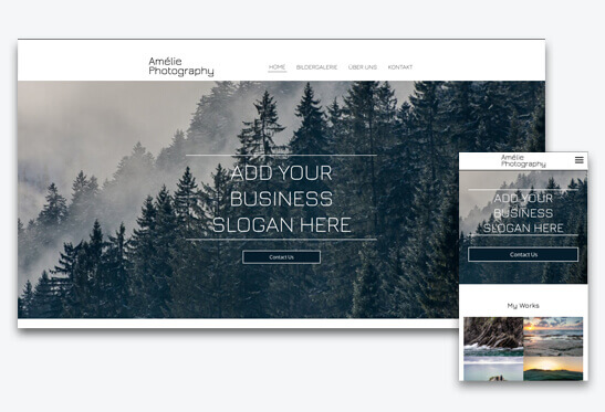 Website Builder, Template for Photographers-Website, different screen sizes