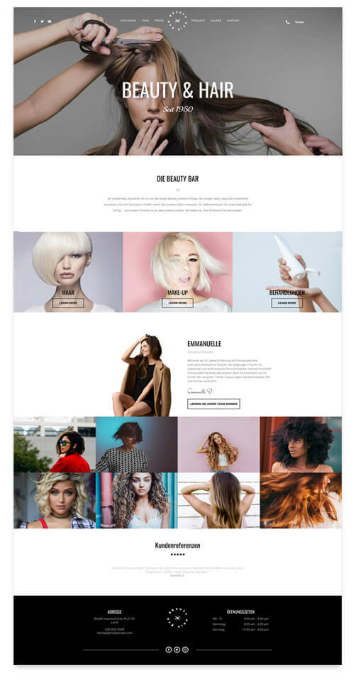 hairdressers website, different template views