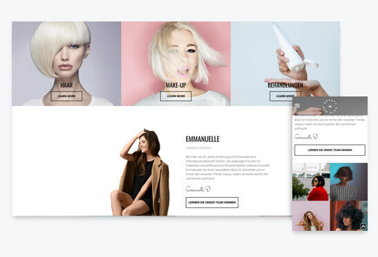 Website Builder, Template for hairdresser website, different screen sizes