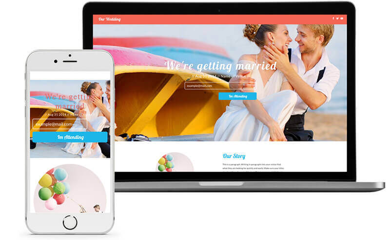 Website Builder, template for wedding homepage