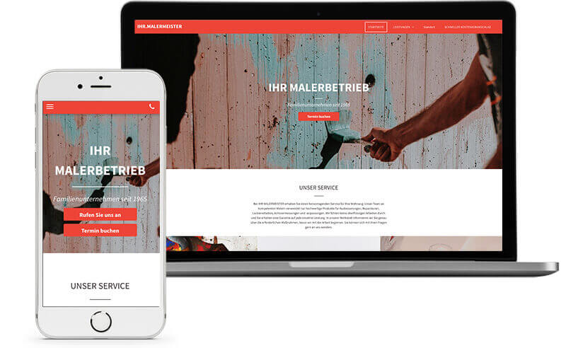website builder, template for a painting service website