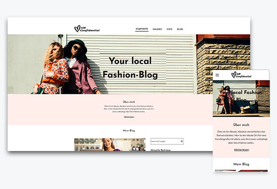 Website Builder, Create a fashion blog, different screen sizes