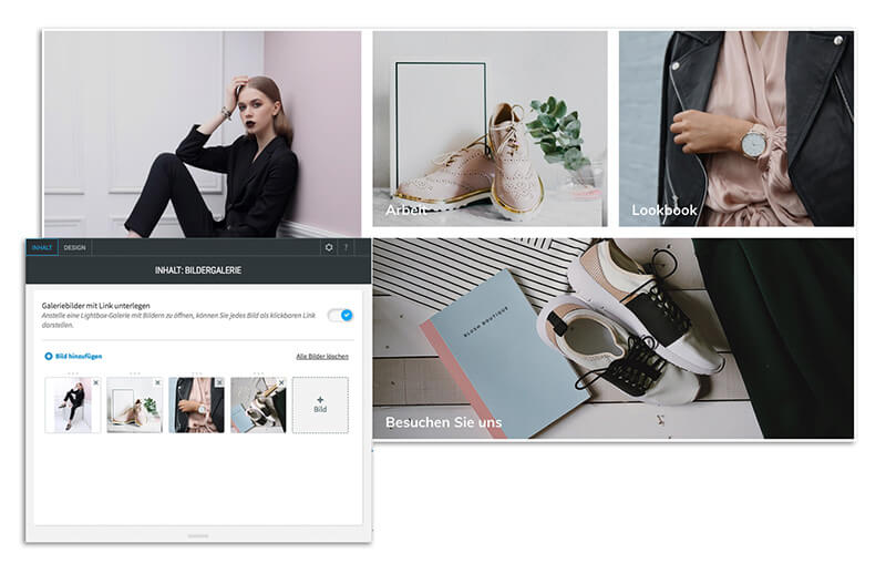 Website Builder, Template for fashion blog, Create gallery in Website Builder