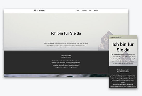 website builder, template for a psychologist website, different screen sizes