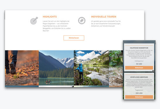 Website Builder, Travel Blog Template, different screen sizes