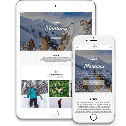 Website Builder, Template for a Travel Blog, iPad and iPhone view