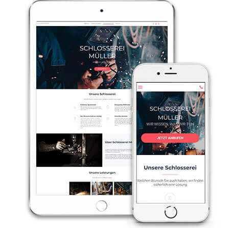 website builder, template for a locksmith website, template on IPad and IPhone