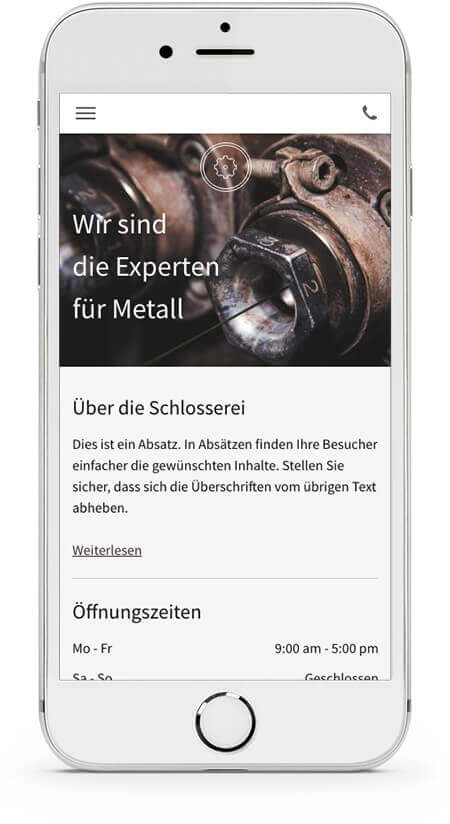 website builder, template for a locksmith website, template on IPhone