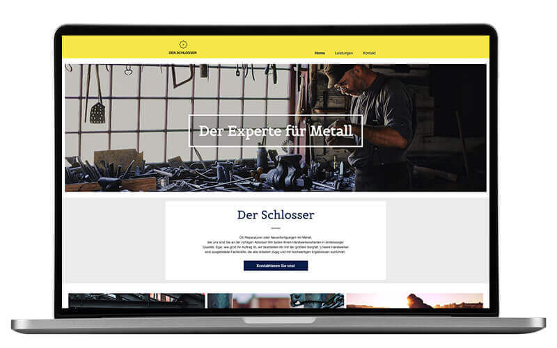 website builder, template for a locksmith website, laptop-view