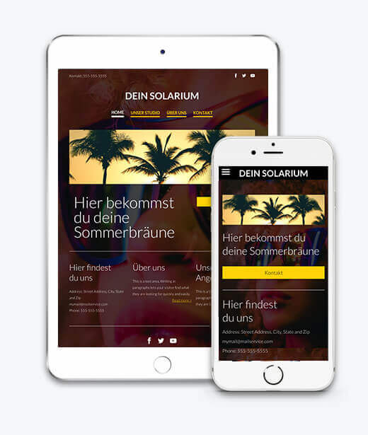 website builder, template for a tanning salon website, IPad and IPhone view