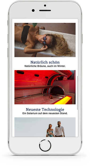 website builder, template for a tanning salon, extract from a IPhone