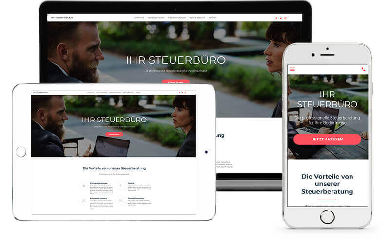 website builder, template for a tax consultant website on all end devices