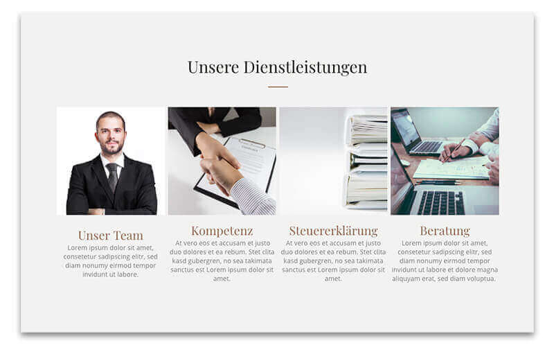 website builder, template for a tax consultant website, cutout from a template