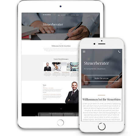 website builder, template for a tax consultant website, IPad and IPhone view