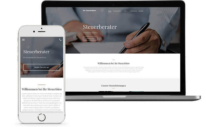 website builder, template for a tax consultant, laptop view