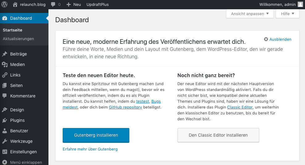 Gutenberg is proposed for testing in the current WordPress version
