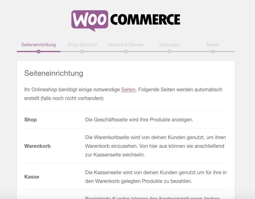 Help you set up your new online shop: The setup assistant of WooCommerce