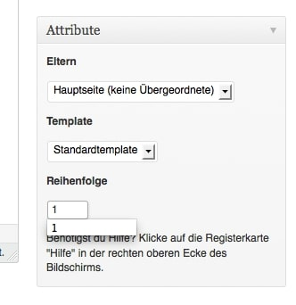 You can define the order in which the pages are listed in the Attributes section. Screenshot: Sandra Cantzler