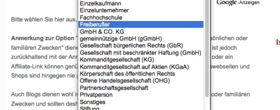 General information does not count: The imprint generator wants to know exactly who is blogging there. Screenshot: e-recht24.de