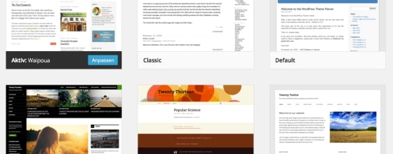 WordPress already offers a selection of free standard themes - you can find more layout options on the net.