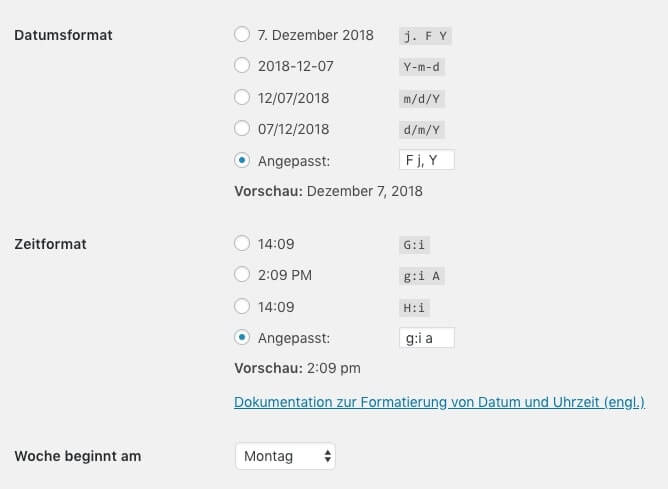 Time and date formats in the WordPress settings