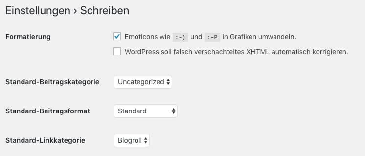 WordPress settings for writing