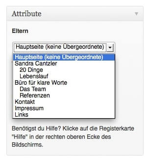 If you want to subordinate a page to another one, you have to name a 										parent page. Screenshot: S.Cantzler