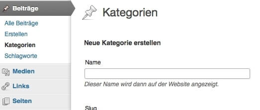 First step to navigation via categories: Create a new category in the dashboard. Screenshot: S. Cantzler