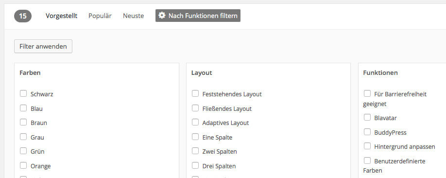 Filter function for themes Source: Screenshot WordPress Backend