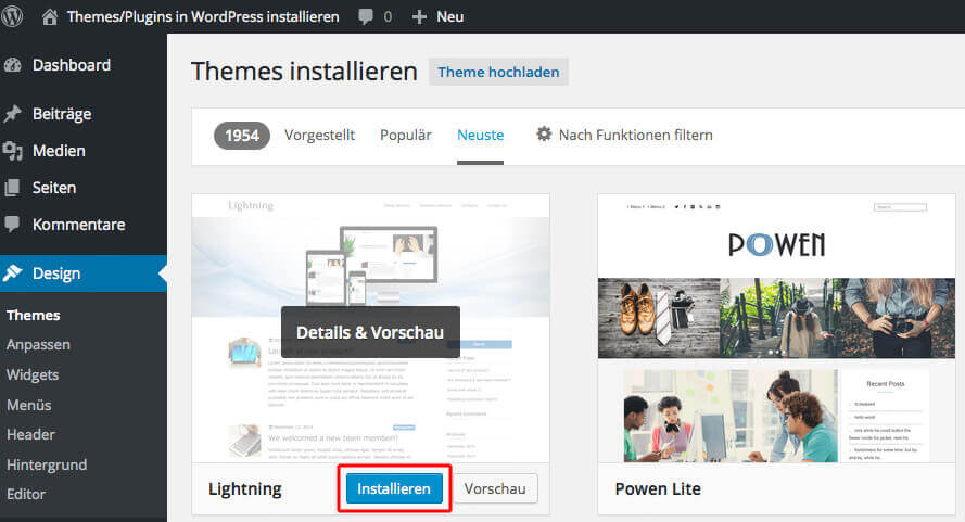 Selection of the WordPress theme Source: Screenshot WordPress Backend