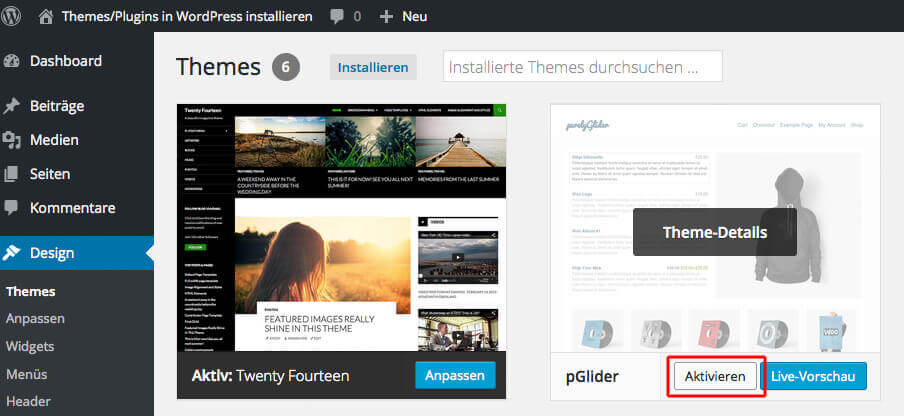 Activate theme Source: Screenshot WordPress Backend